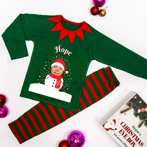 Personalised Christmas Pyjamas - Green (Snowman)