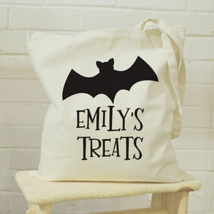 Personalised Bat Halloween Treats Tote Bag | Bits & Bobbets