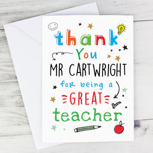Personalised Thank You Teacher Card | Bits & Bobbets