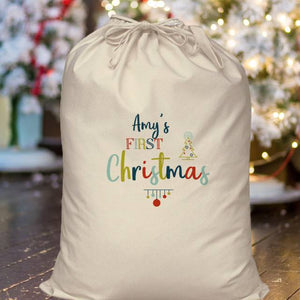 Personalised My First Christmas Cotton Sack
