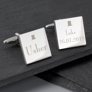 Personalised Decorative Wedding Usher Square Cufflinks | Bits & Bobbets