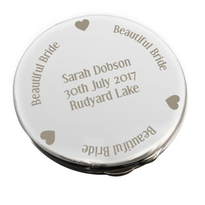 Personalised Beautiful Bride Compact Mirror | Bits & Bobbets