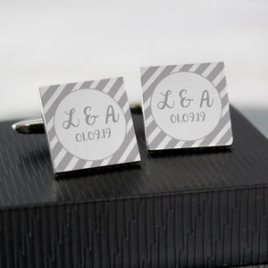 Personalised Striped Square Cufflinks | Bits & Bobbets