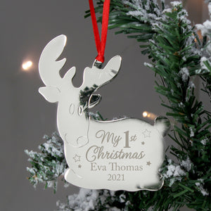Personalised My 1st Christmas Reindeer Metal Decoration | Bits & Bobbets