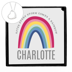 Personalised Rainbow Sentiment Silver Tone Necklace and Box | Bits & Bobbets
