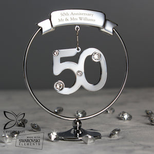 Personalised Crystocraft 50th Celebration Ornament | Bits & Bobbets