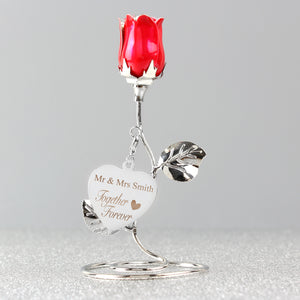 Personalised Together Forever Red Rose Bud Ornament | Bits & Bobbets