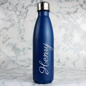 Personalised Blue Metal Insulated Drinks Bottle | Bits & Bobbets