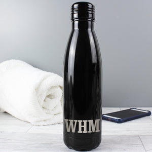 Personalised Black Metal Insulated Drinks Bottle | Bits & Bobbets
