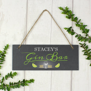 Personalised Gin Bar Slate Plaque | Bits & Bobbets