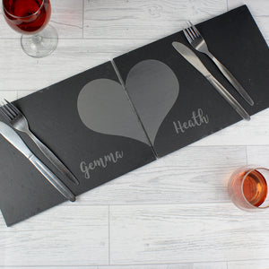 Personalised Two Hearts Slate Placemat Set | Bits & Bobbets
