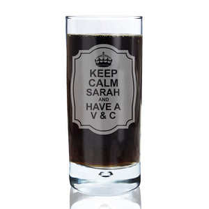 Personalised Keep Calm Hi Ball Bubble Glass | Bits & Bobbets