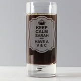 Personalised Keep Calm Hi Ball Bubble Glass