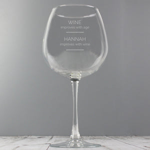 Personalised 'Wine Improves with Age' Bottle of Wine Glass | Bits & Bobbets