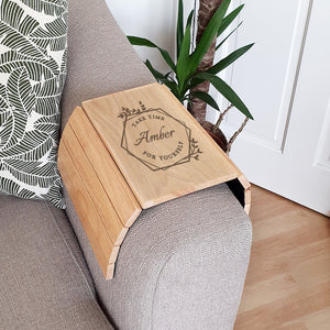 Personalised Take Time For Yourself Wooden Sofa Tray | Bits & Bobbets