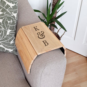 Personalised Initials Wooden Sofa Tray | Bits & Bobbets