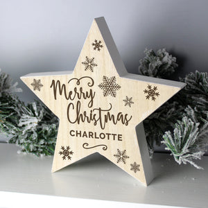 Personalised Merry Christmas Rustic Wooden Star Decoration | Bits & Bobbets