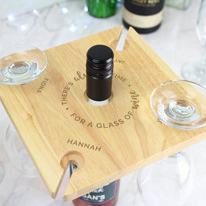 Personalised 'Time For a Glass of Wine' Four Wine Glass Holder & Bottle Butler | Bits & Bobbets