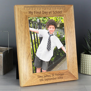 Personalised My First Day at School 7x5 Wooden Photo Frame | Bits & Bobbets