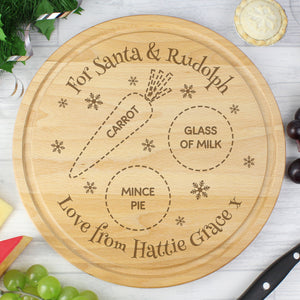 Personalised Christmas Eve Round Treats Board | Bits & Bobbets