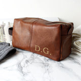 Personalised Luxury Initials Brown Leatherette Wash Bag | Bits & Bobbets