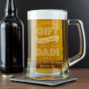Personalised Greatest Dad Glass Pint Stern Tankard | Bits & Bobbets