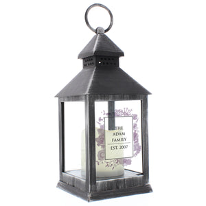 Personalised Soft Watercolour Rustic Black Lantern | Bits & Bobbets