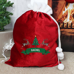 Personalised Nordic Christmas Luxury Pom Pom Red Sack | Bits & Bobbets