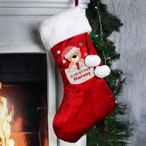 Personalised Pocket Teddy My 1st Christmas Luxury Red Stocking | Bits & Bobbets
