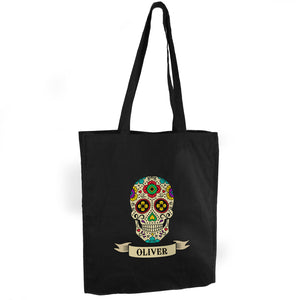 Personalised Sugar Skull Black Cotton Bag | Bits & Bobbets
