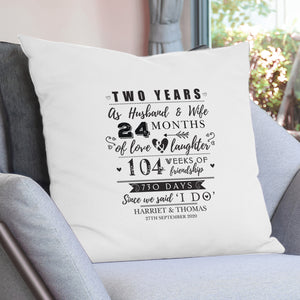 Personalised 2nd Anniversary Cushion Cover | Bits & Bobbets