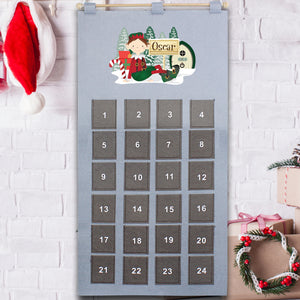 Personalised Elf Advent Calendar In Silver Grey | Bits & Bobbets