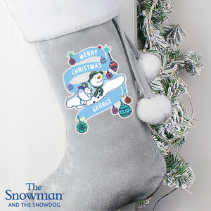 Personalised The Snowman and the Snowdog Luxury Silver Grey Stocking | Bits & Bobbets