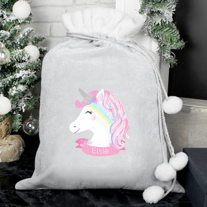 Personalised Christmas Unicorn Luxury Silver Grey Pom Pom Sack | Bits & Bobbets