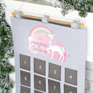 Personalised Christmas Unicorn Advent Calendar In Silver Grey | Bits & Bobbets