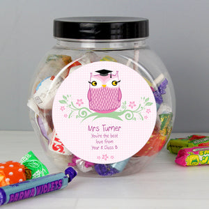 Personalised Miss Teacher Owl Sweet Jar | Bits & Bobbets