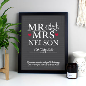 Personalised Mr & Mrs Black Framed Print | Bits & Bobbets