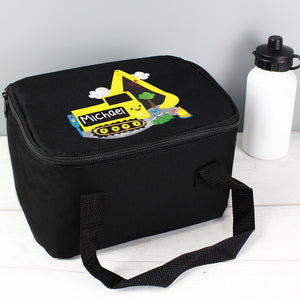 Personalised Digger Black Lunch Bag | Bits & Bobbets