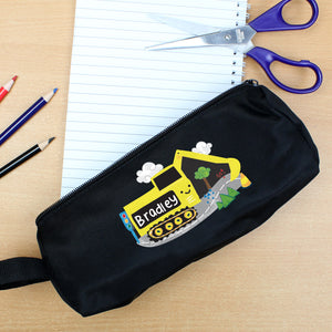 Personalised Digger Black Pencil Case | Bits & Bobbets