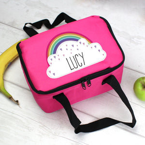 Personalised Rainbow Pink Lunch Bag | Bits & Bobbets