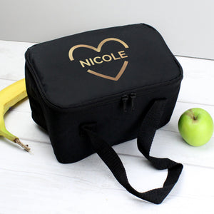 Personalised Gold Heart Black Lunch Bag | Bits & Bobbets