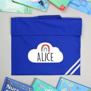 Personalised Rainbow Blue Book Bag | Bits & Bobbets