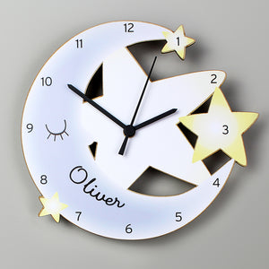 Personalised Moon and Stars Shape Wooden Clock | Bits & Bobbets