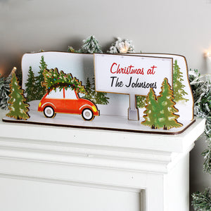 Personalised Driving Home For Christmas Wooden Scene | Bits & Bobbets