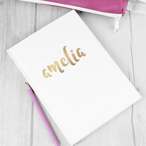Personalised Gold Name Hardback A5 Notebook | Bits & Bobbets
