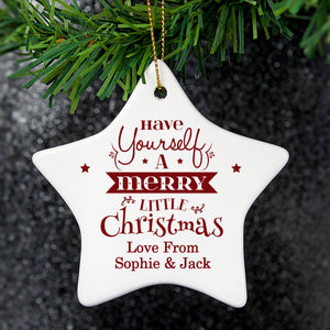 Personalised Merry Little Christmas Ceramic Star Decoration | Bits & Bobbets
