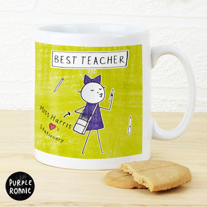Personalised Purple Ronnie Female Teacher Mug | Bits & Bobbets
