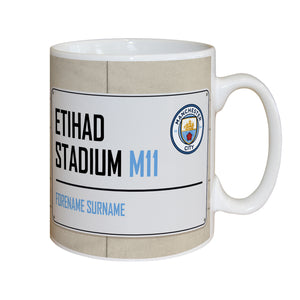 Personalised Manchester City FC Street Sign Mug | Bits & Bobbets