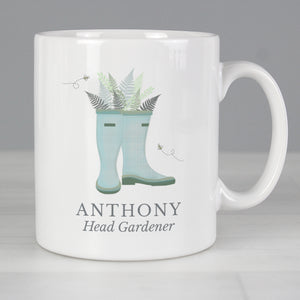 Personalised Blue Wellies Mug