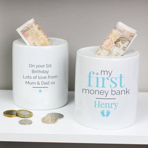 Personalised Blue My First Ceramic Money Box | Bits & Bobbets